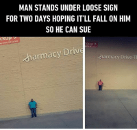 How to flush your time away. Follow @9gag @9gagmobile 9gag wtf: MAN STANDS UNDER LOOSE SIGN  FOR TWO DAYS HOPING IT'LL FALL ON HIM  SO HE CAN SUE  ckup  armacy Drive  dharmacy Drive-T How to flush your time away. Follow @9gag @9gagmobile 9gag wtf