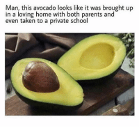 Jealous, Memes, and Parents: Man, this avocado looks like it was brought up  in a loving home with both parents and  even taken to a private school I'm jealous of this avocado. If I was an avocado they wouldn't sell me under clearance at the dollar store @memes