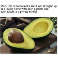 Parents, School, and Taken: Man, this avocado looks like it was brought up  in a loving home with both parents and  even taken to a private school that 1/1000 chance that you open the perfect avocado
