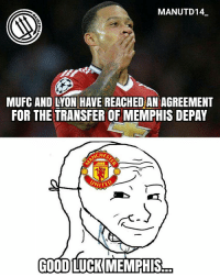 Memes, Martial, and 🤖: MAN UTD 14  MUFC AND LON HAVE REACHED AN AGREEMENT  FOR THE TRANSFER OF MEMPHIS DEPAY  UNITE  GOODLUCK MEMPHIS BREAKING: Lyon and Man United have agreed a fee for Memphis Depay for £14.7m with a buy back clause and sell on fee increment upto 21.7 millions 🔴 . mufc manchesterunited ggmu mourinho davesaves reddevils oldtrafford darmian mkhitaryan ibrahimovic bailly schweinsteiger pogba waynerooney martial anderherrera rashford philjones daleyblind lingard ashleyyoung valencia lukeshaw smalling daviddegea juanmata manutd14_ manutd14_id