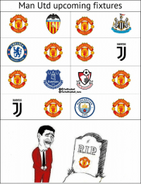Everton, Memes, and Peace: Man Utd upcoming fixtures  CHES  VALENCIA C.F  NİTEO  JUUENTUS  ELSE  CHES  CHES  OTBALL  CHES  CHES  Everton  1878  OO TrollFootballourn  TheTrollFootball Insta  NISI OP  CHES  CHES  JUUENTUS  ACHES  18  94  CITY  WITED  WITED  R.L.P Rest in peace Man Utd https://t.co/2Edf2ybxix