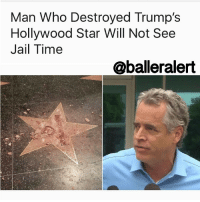 Memes, 🤖, and Working: Man Who Destroyed Trump's  Hollywood Star Will Not See  Jail Time  @balderalert Man Who Destroyed Trump's Hollywood Star Will Not See Jail Time - blogged by: @eleven8 ⠀⠀⠀⠀⠀⠀⠀⠀⠀ ⠀⠀⠀⠀⠀⠀⠀⠀⠀ JamesOtis, the man who obliterated DonaldTrump's Hollywood Walk of Fame star last year, has avoided jail time. ⠀⠀⠀⠀⠀⠀⠀⠀⠀ ⠀⠀⠀⠀⠀⠀⠀⠀⠀ Following the October 2016 incident, Otis was charged with felony vandalism for taking a sledgehammer to Trump's Hollywood star. Otis struck a deal, pleading to 3 years of probation and 20 days of CalTrans work. In exchange, he won't have to spend any time behind bars. Otis will still have to come out of pocket, however. He has been ordered to pay $3,700 to the Hollywood Historic Trust and $700 to the Hollywood Chamber of Commerce, likely to cover the costs of repairing the star.