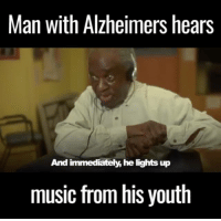 This man's love for music overpowers his Alzheimers and it's amazing to watch 😀🙌  via Music & Memory UK credit www.Aliveinside.us: Man with Alzheimers hears  And immediately,he lights up  music from his youth This man's love for music overpowers his Alzheimers and it's amazing to watch 😀🙌  via Music & Memory UK credit www.Aliveinside.us