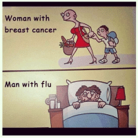 False equivalence memes, cancer doesn't really stop you from doing so much until later stages or if treatment has side effects.  Flu makes you feel like shit and plus if you were to go anyway you'd risk passing it on to everyone else.: man with  breast cancer  Man with flu  S False equivalence memes, cancer doesn't really stop you from doing so much until later stages or if treatment has side effects.  Flu makes you feel like shit and plus if you were to go anyway you'd risk passing it on to everyone else.