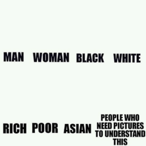 Asian, Memes, and White People: MAN WOMAN BLACK WHITE  PEOPLE WHO  NEED PICTURES  RICH POOR ASIAN TIERDESIBNS  THIS do you need pictures? via /r/memes https://ift.tt/2zohcrZ