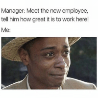 Funny, Memes, and Work: Manager: Meet the new employee,  tell him how great it is to work here!  Me: SarcasmOnly