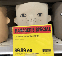 Hfd: MANAGER'S SPECIAL  L D IVD E/W SNOOT FACE POT  17X15X16CM IP18-0071/0  Expires 02/24/19  Sun Feb 24  400 #0131133  Our Everyday Prce  e10 y  ea