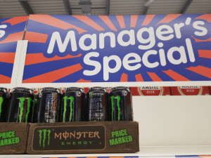 Energy, Monster, and Protein: Manager's  Special  VSTLL  AMSTEL  CL  TAUR INEG  GINSENG+  NSENG  GINSENG  4-CARNITINGIS  VITAMIN  BIER  BIER  $1.35  £1.39  MONSTER  ONSTERERS  CARDONATED ENERGY DRINK WIT  1-CARNITINE, CAFFEINE, GINSEN  VITAMIRS WITH SUGARS AND i  INGREDIENTS: CARBONATED WATE  GLUCOSE SYAUP ACID CITRIC  FLAYOURINGS TAURINE 0.4  REQULATOR (SODIUM CITRATE  ENERGY  Tear Into a can of Manstar  Enersy, he Reanest eherey  dink an the planet  t's the ideal conbo.of the  ist ingredients in the right  OPartion to get the job dons  ko only Manster can  Manstor has an intenso but  SHooth flavour  letes, nusicians, Sharchists  udents, road warniprs, Retal  adsseeks, Hipsters, and  kers dig it you wll toa.  eb  GINSE ROOT  EXTRACT  1CAR TINE L-TARTRATE (0.04%  L03 PRESERVATIVES  BENZO ACID), COLOUR (AT  VITAMINS (2 B3, 86, B12  CHLORIDE D-GLUCURONOLACTO  SEED TRACT (0.002  SWEETENER (SUCRALOSE),MALTXT  NUTRITION INFORMAT  Per 100m  201  (47 kcal)  12  11  0.19  FAT,SATURATES PROTEIN-NEGL  RE FERENCE NTAKE OF AN AVER  ENERGY  CARBOHYCRATE  OF HCH SUGANS  CALT  PRICE  MARKED  WMONSTER  PRICE  ARKED  E N E R GY  12 x500mle  12 x500mle When the manager is called Kyle