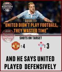 """Adidas, Football, and Goals: MANCHESTER  UNITED  FAN PAGE  GUIDETTI:  """"UNITED DIDN'T PLAY FOOTBALL  THEY WASTED TIME""""  MANCHESTER  SHOTS ON TARGET  FAN PAGE  NITE  AND HE SAYS UNITED  PLAYED DEFENSIVELY Let's batter them tonight!!!! ❤️🔥 . . . . . . . manutd mufc manchesterunited degea united neymar footy football soccer rooney sfs s4s like selfie followback followme followforfollow likeforlike goals zlatan pogba mata cr7 nike adidas messi ibrahimovic Ronaldo lol"""