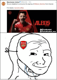 Arsenal, Memes, and Manchester United: Manchester United@ManUtd -14m  We are delighted to announce the signing of @Alexis_Sanchez from Arsenal.  Full details: manutd.co/Bea  ALEXIS  #ALEXIS7  fOTrollFootball  TheTrollFootball Insta  Arsenal Arsenal fans right now (Tag them 😆) https://t.co/BM7pa4bq4V
