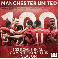 Anaconda, Goals, and Memes: MANCHESTER UNITED  MARTIAL  RAS  100 GOALS IN ALL  COMPETITIONS THIS  BR  SEASON Man Utd have scored 100 goals in a season (all competitions) for the 1st time since 2012-13, Sir Alex Ferguson's last season as manager. mufc