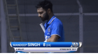IND vs ENG, 1st Practice match:  IND - 25/1 (8) | Shikhar Dhawan - 17* (21): MANDEEP SINGH 8 (24  b WILLEY  STRIKE RATE 33.3 IND vs ENG, 1st Practice match:  IND - 25/1 (8) | Shikhar Dhawan - 17* (21)