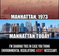 Bad, Fall, and Memes: MANHATTAN, 1973  MANHATTAN TODAY  I'M SHARING THIS IN CASE YOU THINK  ENVIRONMENTAL REGULATIONS  AREN'T  NECESSARY The Regressives hate government programs that work. That's why they constantly try to privatize the postal service, Social Security, Medicare, and destroy the EPA.   They have sabotaged our institutions for the last four decades in order to make government look incompetent and bad. Stop falling for their tricks!