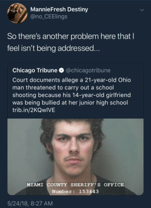 What in the 9 circles of hell? by The_Tank_ FOLLOW HERE 4 MORE MEMES.: MannieFresh Destiny  @no_CEElings  So there's another problem here that I  feel isn't being addressed...  @chicagotribune  Chicago Tribune  Court documents allege a 21-year-old Ohio  man threatened to carry out a school  shooting because his 14-year-old girlfriend  was being bullied at her junior high school  trib.in/2KQwIVE  MIAMI COUNTY SHERIFF' S OFFICE  Number: 153443  5/24/18, 8:27 AM What in the 9 circles of hell? by The_Tank_ FOLLOW HERE 4 MORE MEMES.