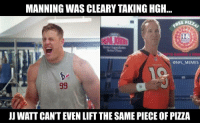 Jj Watt, Proof, and Watt: MANNING WAS CLEARY TAKING HGH...  CONFLMEMES  JJ WATT CANT EVEN LIFT THE SAME PIECE OF PIZZA Proof
