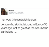 Funny, Wow, and Europe: manu  @Bonjour_Manuela  me: wow this sandwich is great  person who studied abroad in Europe 30  years ago: not as great as the one i had in  Barthelona Barthelona 🤦🏻♂️