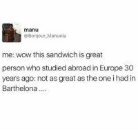 Funny, Wow, and Europe: manu  @Bonjour_Manuela  me: wow this sandwich is great  person who studied abroad in Europe 30  years ago: not as great as the one i had in  Barthelona Tell me about ur crosant