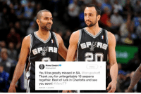 Manu Ginobili, Soon..., and Thank You: Manu Ginobili  Follow  You'll be greatly missed in SA, @tonyparker!  Thank you for unforgettable 16 seasons  together. Best of luck in Charlotte and see  you soon! #MerciTP  26 AM-7 Jul 2018 16 years. 😢