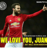 Arsenal, Everton, and Football: MANUTD14.  CHEVROLET  FROM UNITED FANS TO SPECIAL JUAN,  WE LOVE YOU. JUAN  GET WELL SOON MAGICIAN SPECIAL JUAN UPDATE 👇👇👇 A message from @juanmatagarcia ❤ . Hi everyone, As you can imagine, I'm writing this post in not the best possible situation, but first of all I'd like to thank you for all your messages of encouragement during the last few days. This situation is new for me, after having surgery this week, but I feel positive and I'm looking forward to getting well and trying to help the team. Besides, right now your messages of support are like an extra power for me . Watching a game of your team on TV is not the best possible experience, but I had to do it on Saturday. It was a shame that we weren't able to get the three points because now we would be in a better position, especially after the draw between Arsenal and City, but we have to keep going. We had some chances to score that goal that sometimes is so difficult to get, but we couldn't make them. Now we have to focus on the next game against Everton at home this Tuesday, and try to win this one. At this moment we're being unlucky in terms of players injured or suspended. I hope the situation gets better from now until the end of the season . As you can guess, this weekend I've had plenty of time to watch football games. I've been keeping an eye on the Spanish league because it's a tight race in many ways: the title, the third and fourth spots (Sevilla and Atletico with the same points) and also the fight to avoid relegation, because it seems it's going to last until the very end of the season . I'm signing off now. As I said in the first paragraph, I'm very grateful to you for all your messages of strength. I hope I can be back very soon doing what I like the most: playing football . Have a nice week. Hugs , -Juan . mufc manchesterunited ggmu mourinho davesaves reddevils oldtrafford darmian mkhitaryan ibrahimovic bailly pogba waynerooney martial anderherrera rashford phi