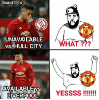 Memes, Chevrolet, and Martial: MANUTD14  NTED  UNAVAILABLE  HAT  vs HULL CITY  CHEVROLET  UNITED  AVAILABLE vs.  LIVERPOOL  YESSSS ROJO UPDATE 🔝🔝🔝🔝 . Marcos Rojo will miss Tuesday's game against Hull with the injury he picked up against Reading, but should be fit for Liverpool. Medical staff believe the injury was caused by Rojo compensating for a different injury he picked up in training previously. Rojo will be missing for the EFL semi-final but is expected to be fit and available for the rest of mufc's January fixtures.[Duncan Castles] . Get well soon Marcos 🙏🙏🙏 . mufc manchesterunited ggmu mourinho davesaves reddevils oldtrafford darmian mkhitaryan ibrahimovic bailly schweinsteiger schneiderlin pogba waynerooney martial anderherrera rashford philjones daleyblind lingard ashleyyoung valencia lukeshaw smalling daviddegea juanmata manutd14_ manutd14_id