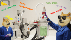 Someone on the r/chemistry subreddit made a post about staged lab marketing photos... it inspired us to mock our own recent photoshoot: many green  so stirring  many  much chemis remperature  very motor  Wow  for scale Someone on the r/chemistry subreddit made a post about staged lab marketing photos... it inspired us to mock our own recent photoshoot