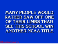 """Saw, School, and Sports: MANY PEOPLE WOULD  RATHER SAW OFF ONE  OF THEIR LIMBS THAN  SEE THIS SCHOOL  WIN  ANOTHER NCAA TITLE """"What is: Duke University?"""" JeopardySports"""
