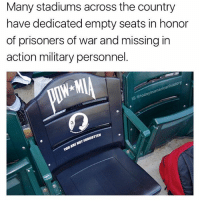 AMAZING !! From @todayinamericanhistory: Many stadiums across the country  have dedicated empty seats in honor  of prisoners of war and missing in  action military personnel.  history  rican  dayinal  1G AMAZING !! From @todayinamericanhistory