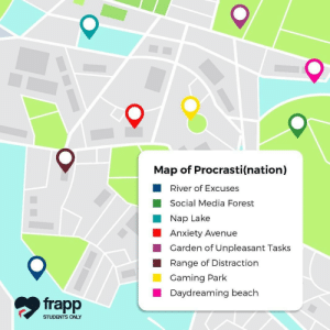 Social Media, Tumblr, and Anxiety: Map of Procrasti(nation)  River of Excuses  Social Media Forest  Nap Lake  Anxiety Avenue  Garden of Unpleasant Tasks  Range of Distraction  Gaming Park  Daydreaming beach  frapp  STUDENTS ONLY Follow us @studentlifeproblems​
