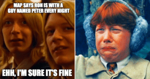 30 Harry Potter Logic Memes That Show The Series Doesn't Make Sense: MAP SAYSRON IS WITHA  GUY NAMED PETER EVERY NIGHT  EHH, I'M SURE IT'S FINE 30 Harry Potter Logic Memes That Show The Series Doesn't Make Sense