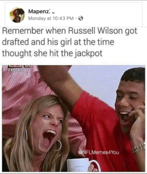 She looks like she belongs on shark week: Mapenz.  Monday at 10:43 PM  Remember when Russell Wilson got  drafted and his girl at the time  thought she hit the jackpot  EXCUUSBE  @NFLMemes4You She looks like she belongs on shark week
