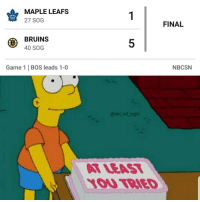 Nice try maple leafs, I'm still looking forward to another Game 7 in Boston: MAPLE LEAFS  27 SOG  LEAFS  FINAL  BRUINS  40 SOG  5  Game 1 | BOS leads 1-0  NBCSN  @nhl ref logic  T LEAT  1OU TBIED Nice try maple leafs, I'm still looking forward to another Game 7 in Boston