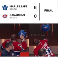 Logic, Memes, and National Hockey League (NHL): MAPLE LEAFS  31 SOG  MAP  LEA  FINAL  CANADIENS  33 SOG  GBC  @nhl ref_ logic Tag a Leafs or Habs fans😂😂 @torontohockey