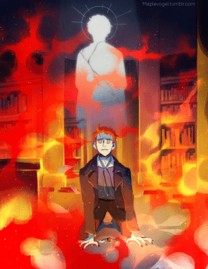 """maplevogel:  """"Somebody killed my best friend!""""So the burning bookshop scene is one of my fave both in the book and the show and Crowley breaks my heart!: Maplevogel.tumblr.com maplevogel:  """"Somebody killed my best friend!""""So the burning bookshop scene is one of my fave both in the book and the show and Crowley breaks my heart!"""