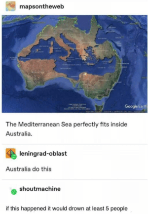 Google, Australia, and Earth: mapsontheweb  Google Earth  The Mediterranean Sea perfectly fits inside  Australia.  leningrad-oblast  Australia do this  shoutmachine  if this happened it would drown at least 5 people We need to do this. I'm going to buy shares in spade and wheelbarrow manufacturers :) WooHoo... I'll be rich :)