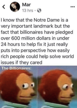 Help, Notre Dame, and World: Mar  13 hrs  I know that the Notre Dame is a  very important landmark but the  fact that billionaires have pledged  over 600 million dollars in under  24 hours to help fix it just really  puts into perspective how easily  rich people could help solve world  issues if they cared  The Billionaires: They just don't care 🤷‍♀️