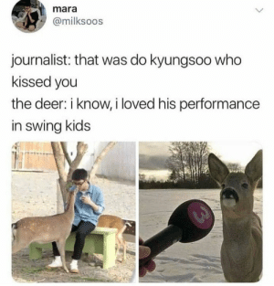 EXO memes: mara  @milksoos  journalist: that was do kyungsoo who  kissed you  the deer: i know, i loved his performance  in swing kids EXO memes
