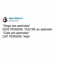 "accurate 🐱: Mara Wilson  @MaraWilson  ""Dogs are assholes""  DOG PERSON: YOU'RE an asshole!  ""Cats are assholes""  CAT PERSON: Yeah accurate 🐱"