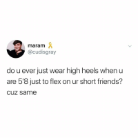 "Flexing, Friends, and Weird: maram  @cudisgray  do u ever just wear high heels when u  are 5'8 just to flex on ur short friends?  cuz same me from all the way down here: ""weird flex but ok"""