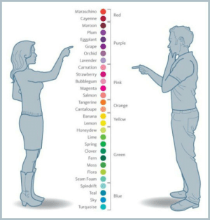 srsfunny:  Naming Colors: Girls Vs. Guys: Maraschino  Red  Cayenne  Maroon  Plum  Eggplant  Purple  Grape  Orchid  Lavender  Carnation  Strawberry  Bubblegum  Pink  Magenta  Salmon  Tangerine  Orange  Cantaloupe  Banana  Yellow  Lemon  Honeydew  Lime  Spring  Clover  Green  Fern  Moss  Flora  Seam Foam  Spindrift  Teal  Blue  Sky  Turquoise srsfunny:  Naming Colors: Girls Vs. Guys