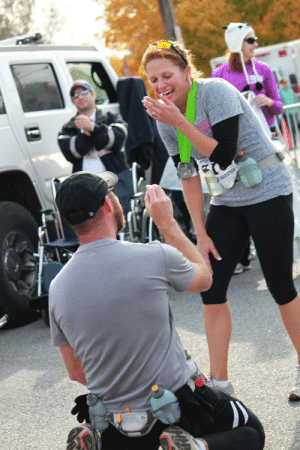 I proposed to my fiance after the finish of our first marathon together. I had never ran, she was an avid runner. We trained together for 6 months for this. I told her this was the hardest thing I had ever done but asking her to marry me was the easiest.: MARATHON I proposed to my fiance after the finish of our first marathon together. I had never ran, she was an avid runner. We trained together for 6 months for this. I told her this was the hardest thing I had ever done but asking her to marry me was the easiest.