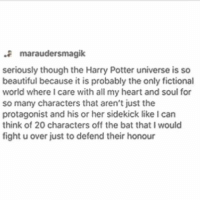 Beautiful, Harry Potter, and Memes: maraudersmagik  seriously though the Harry Potter universe is so  beautiful because it is probably the only fictional  world where I care with all my heart and soul for  so many characters that aren't just the  protagonist and his or her sidekick like I can  think of 20 characters off the bat that I would  fight u over just to defend their honour •••••••• ok so I had work today and my shift was from 5-8:30pm and then my manager asked if I could do close, so I didn't finish till 11:50pm and I'm so tired and I regret staying up late yesterday playing sims