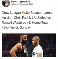 😱🤐 better go grab some popcorn and seats while they are still available🍿 tonight's gonna be a fun one⏱: Marc J. Spears  @MarcJSpearsESPN  Drew League 43: Source-James  Harden, Chris Paul & LA Unified vs  Russell Westbrook & Home Town  Favorites on Sunday. 😱🤐 better go grab some popcorn and seats while they are still available🍿 tonight's gonna be a fun one⏱