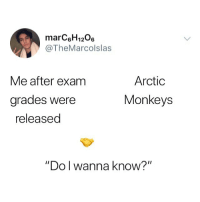 "Memes, Wanna Know, and Back: marC6H1206  @TheMarcolslas  Arctic  Monkeys  Me after exam  grades Were  released  ""Do l wanna know?"" Crawling back to you..."