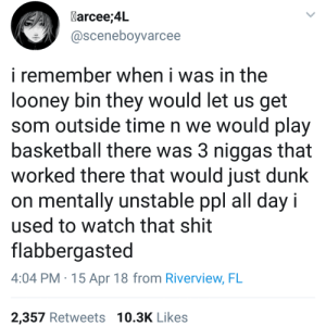 Basketball, Dunk, and Shit: Marcee;4L  @sceneboyvarcee  i remember when i was in the  looney bin they would let us get  som outside time n we would play  basketball there was 3 niggas that  worked there that would just dunk  on mentally unstable ppl all day i  used to watch that shit  flabbergasted  4:04 PM.15 Apr 18 from Riverview, FL  2,357 Retweets 10.3K Likes We do a podcast deep diving/reviewing Twitter accounts. This is the post thats broken us most.