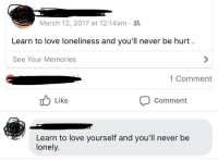Love, Loneliness, and Never: March 12, 2017 at 12:14am  Learn to love loneliness and you'll never be hurt  See Your Memories  1 Comment  Like  Comment  Learn to love yourself and you'll never be  lonely.