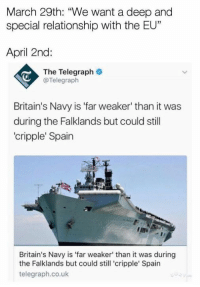 """Cripple: March 29th: """"We want a deep and  special relationship with the EU""""  April 2nd:  The Telegraph  @Telegraph  Britain's Navy is 'far weaker' than it was  during the Falklands but could still  cripple' Spain  Britain's Navy is 'far weaker' than it was during  the Falklands but could still 'cripple' Spain  telegraph.co.uk"""