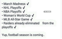 All Star, Football, and March Madness: March Madness  V  NHL Playoffs V  NBA Playoffs V  @NFLIMEMET  Woman's World Cup V  MLB All-Star Game V  Raiders already eliminated from the  playoffs v  Yup, football season is coming NFL season is approaching!
