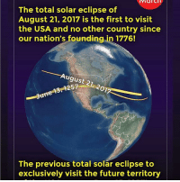 Check it out!!!!!: March  The total solar eclipse of  August 21, 2017 is the first to visit  the USA and no other country since  our nation's founding  in 1776!  August 21  June  The previous total solar eclipse to  exclusively visit the future territory Check it out!!!!!