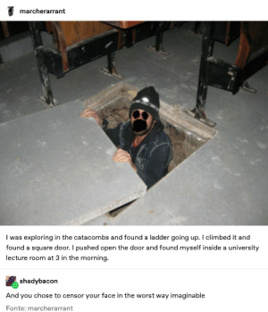 This shit legit scared me via /r/memes https://ift.tt/35rD0B1: marcherarrant  I was exploring in the catacombs and found a ladder going up. I climbed it and  found a square door. I pushed open the door and found myself inside a university  lecture room at 3 in the morning.  shadybacon  And  you chose to censor your face in the worst way imaginable  Fonte: marcherarrant This shit legit scared me via /r/memes https://ift.tt/35rD0B1