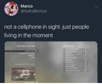 Good, Old, and Living: Marco  @SaltyBeckys  not a cellphone in sight. just people  living in the moment  TEAM DEATHMATCH  CREATE ACLASS  A KILLSTREAKS  BARRACKS  INVITE  oibye 2361  NFAMY Masscre  ACOBIZZLE  WIS Dson1 4  41 190  70 1740  70  31 1100  70 1120  70 900  54 2 The good old days 😂💯 https://t.co/eYve0wOjJQ